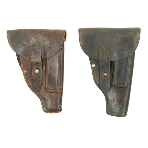 Original German WWII Set of Two Leather Holsters - Walther PP and Dreyse M1907 Original Items