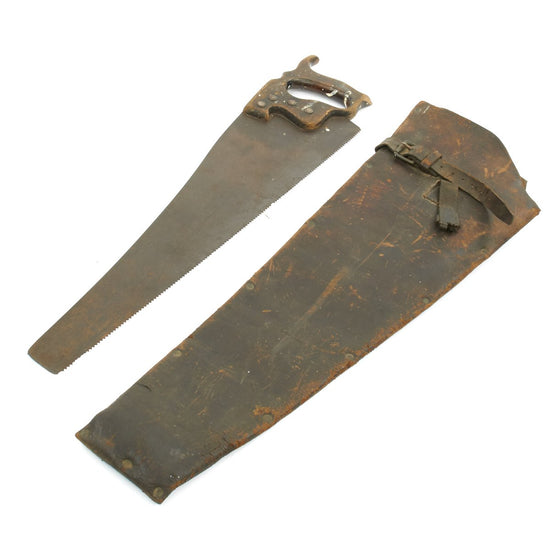 Original British WWI Regimentally Marked Hand Saw with Leather Carrier - dated 7.1915