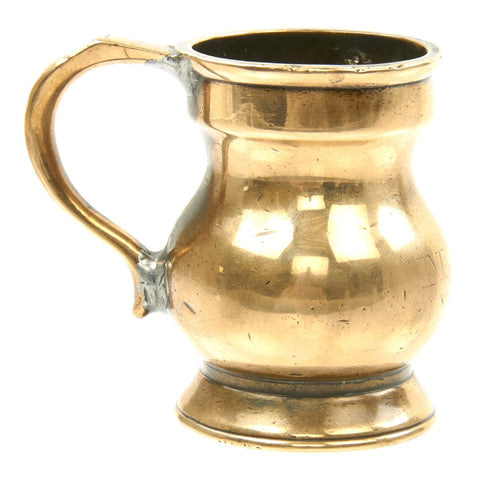 Original British 19th Century Naval 1/2 GILL Brass Rum Measure for Grog - G.R. and V.R. Marked