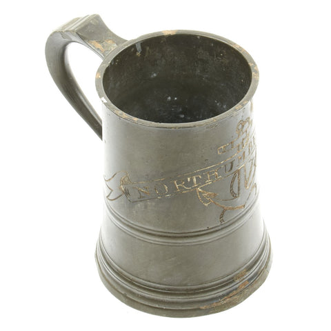 Original British Victorian Royal Navy Pewter Quart Tankard marked NORTHUMBERLAND - c.1870 Original Items