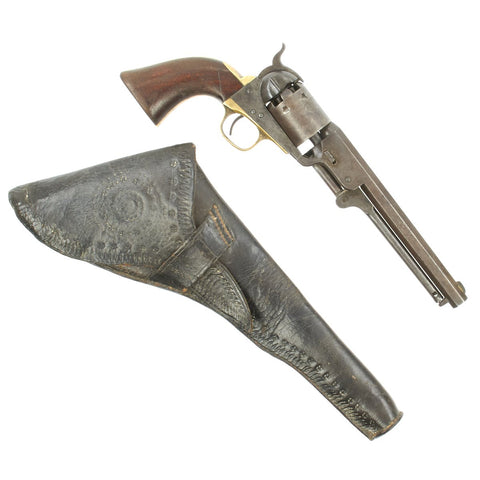 Original U.S. Civil War Colt 1851 Navy Revolver with Cylinder Scene and Holster made in 1863 - Serial No 147868