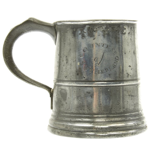 Original British EIC Naval Pewter Pint Tankard named to Ship Countess of Sutherland - Dated 1801 Original Items