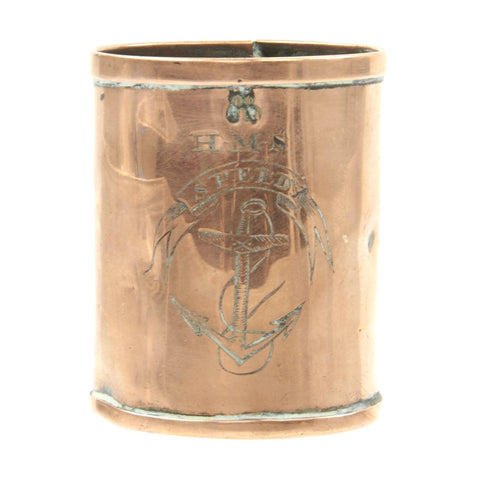 Original British Napoleonic Era Naval 1/2 GILL Copper Rum Measure for Grog from H.M.S. SPEEDY