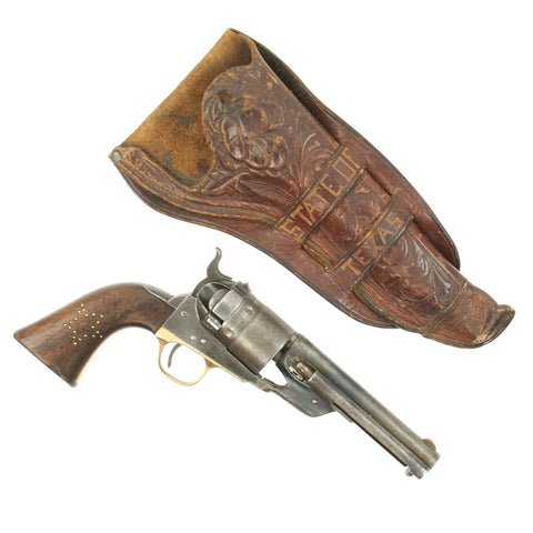 Original U.S. Colt 1860 Army Richards Cartridge Conversion Revolver with Tooled Leather Texas Holster Original Items
