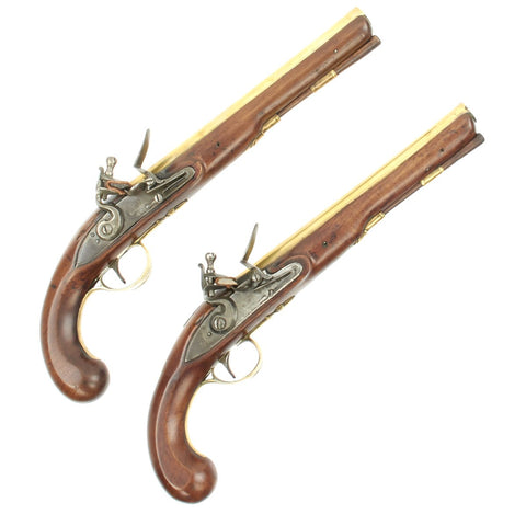 Original British Pair of Brass Barreled Coaching Inn Flintlock Pistols by Ketland & Co. - Circa 1810 Original Items