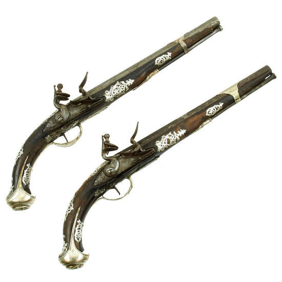 Original 18th Century Pair of Silver Mounted Ottoman Flintlock Pistols - circa 1790