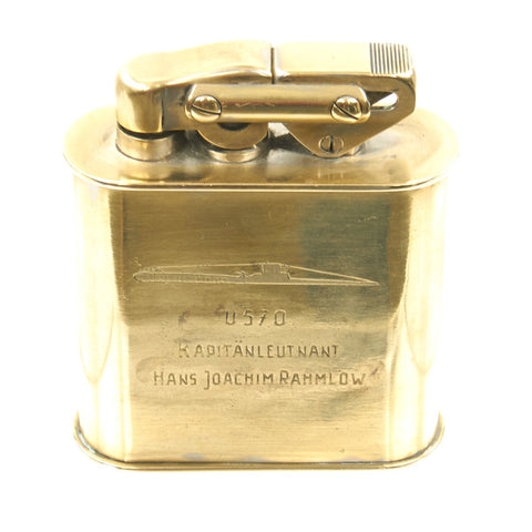 Original German WWII Kriegsmarine Large Brass Cigarette Lighter Presented to Captain of U-570 - dated 1941 Original Items