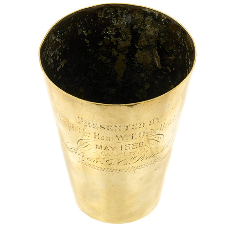 Original British Victorian Brass Prize Beaker won by Trooper in Yorkshire Hussars - dated 1880 Original Items