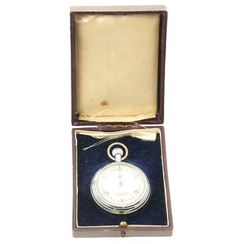 Original German WWII Police School Dresden marked Stop Watch by Hanhart with Case - Fully Functional Original Items