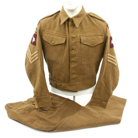 Original British WWII Pattern Airborne Parachute Regiment Battledress Tunic and Trousers - Dated 1946 Original Items