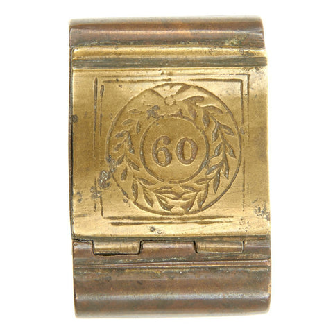 Original British Georgian Era Brass Officer's Snuffbox marked to 60th Royal American Regiment Original Items