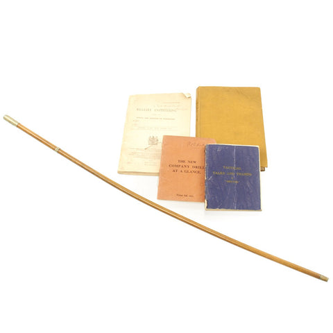Original British WWI Indian Army Officer's Swagger Stick and Training Manual Set - Lt. C.A. Kirkbride Original Items