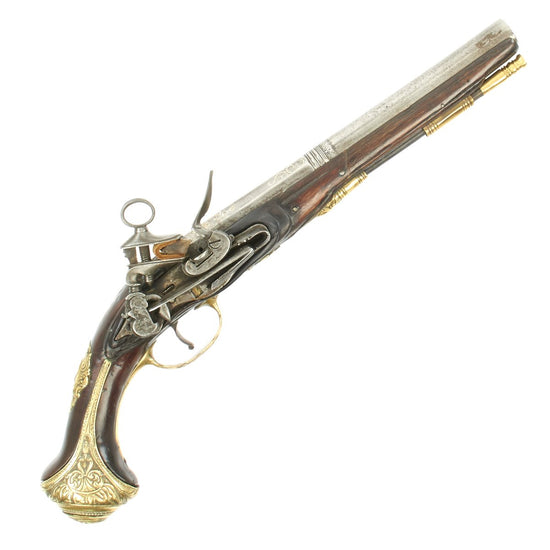 Original Spanish 18th Century Decorated Miquelet Lock Holster Pistol with Silver Inlaid Barrel