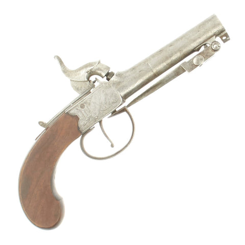 Original British Pocket Percussion Pistol with Spring Bayonet by William Bond of London c.1845 Original Items