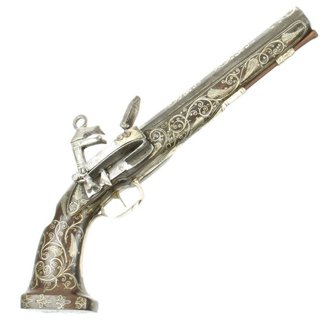 Original Spanish Style Late 18th Century North African Miquelet Pistol Fully Adorned with Silver