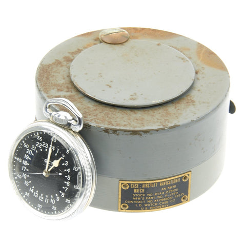 Original WWII USAAF 1942 Hamilton AN5740 G.C.T Navigator Pocket Watch with Carry Case