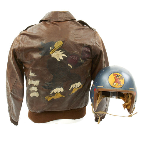 Original U.S. WWII and Korean War 334th Fighter Squadron A-2 Flight Jacket with Helmet Original Items