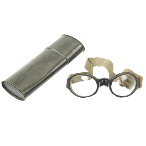 Original German Luftwaffe Fighter PIlot Splinter Goggles Ultrasin Glasses Type A with Tin Original Items
