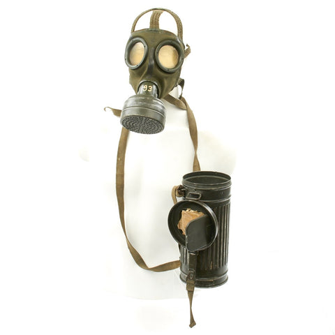 Original German WWII Named M30 3rd Model Gas Mask with Filter and Can - All Dated 1940 Original Items