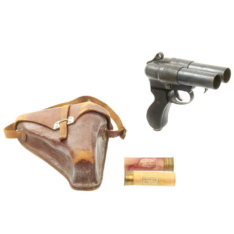 Original Japanese WWII Imperial Navy Two Barrel Type 90 Flare Signal Pistol with Leather Holster and 2 Flares Original Items