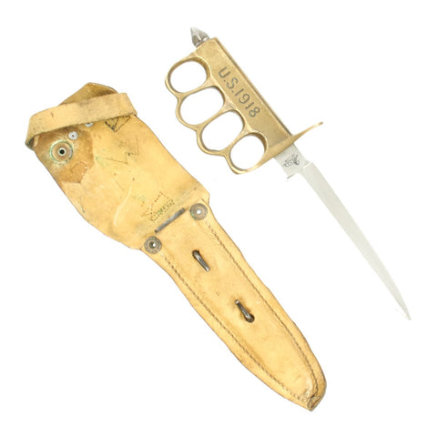 Original U.S. WWI Model 1918 Mark I Trench Knife by AU LION with Scabbard in Custom Leather Frog Original Items