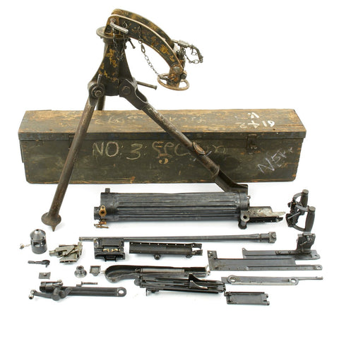 Original Nepalese Contract Vickers Machine Gun Parts Set with Colt Tripod and Transit Chest - Serial Number 3 Original Items