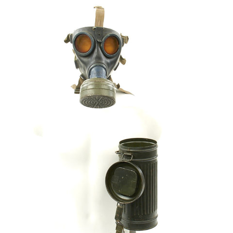 Original German WWII M38 2nd Model Gas Mask in Size 2 with Filter and Can - dated 1943 Original Items
