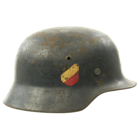 Original German WWII Named Luftwaffe M35 Double Decal Droop Tail Eagle Steel Helmet - marked SE66 Original Items