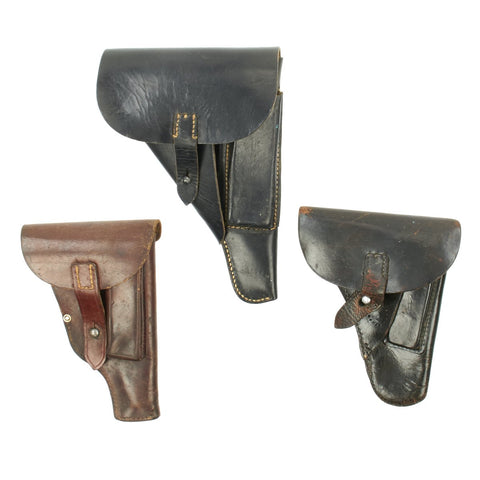 Original German WWII Set of Three Officer's Leather Holsters - Walther P38 and Two 7.65 High Front Original Items
