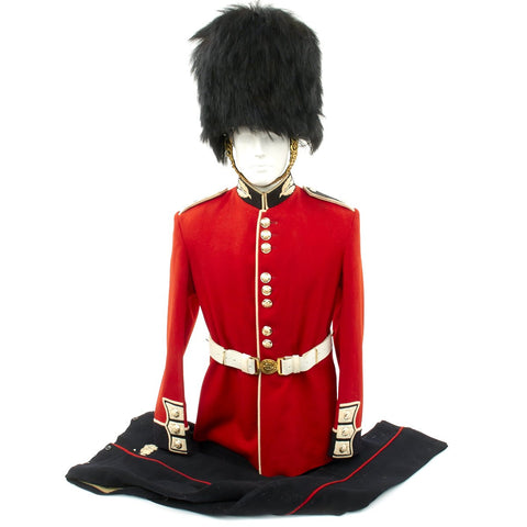 Original British 20th Century Scots Guards Queen's Crown Uniform Set with Bearskin Helmet Original Items