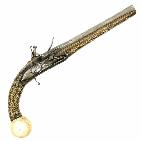 Original Early 19th Century Imperial Russian Cossack Inlaid Flintlock Pistol with Bone Ball Butt