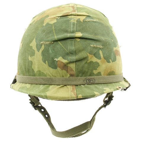 Original U.S. WWII Vietnam War M1 Paratrooper Helmet with USMC Reversible Camouflage Cover Original Items
