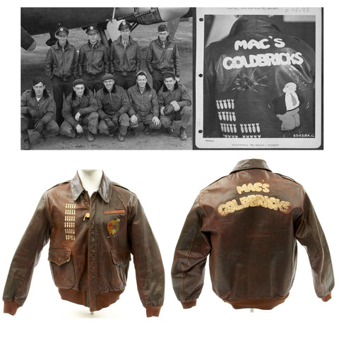 Original U.S. WWII B-17 Named Pilot 613th Bomb Squadron A-2 Flight Jacket - 31 Documented Missions Original Items
