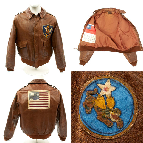 Original U.S. WWII 23rd Fighter Group Flying Tigers A-2 Jacket with Blood Chit Original Items