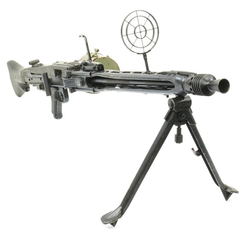 Original German WWII MG 42 Display Machine Gun with Anti-Aircraft Sights and Belt Carrier Original Items