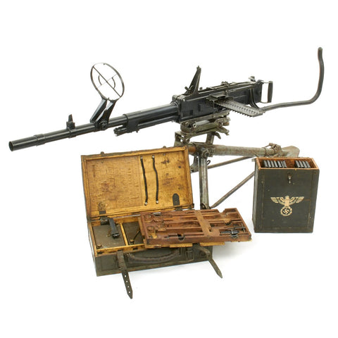 Original Italian WWII Breda Model 37 Display Machine Gun with Tripod and Accessories Original Items