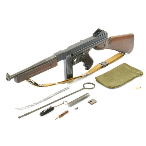 Original U.S. WWII Thompson M1A1 Display Submachine Gun with Original Sling and Accessories Original Items