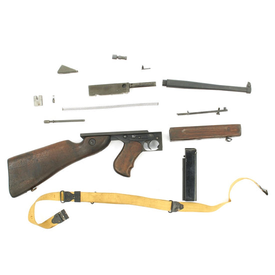 Original U.S. WWII Thompson M1A1 SMG Parts Set with Original Barrel and Magazine