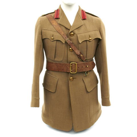 Original British WWI Major's Tunic and Sam Brown Belt Set from King Edward's Horse Regiment Original Items