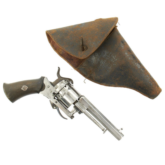 Original Victorian Belgian Pinfire Revolver Issued to Customs House, Harwich in Holster - c.1860
