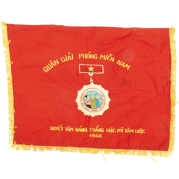 Original Vietnam War 1968 Nva Viet Cong Flag People S Liberation Armed Forces Of South Vietnam Plaf International Military Antiques