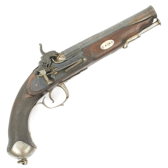Original Spanish 19th Century Miquelet Percussion Pistol with Silver Inlaid Barrel - Dated 1842