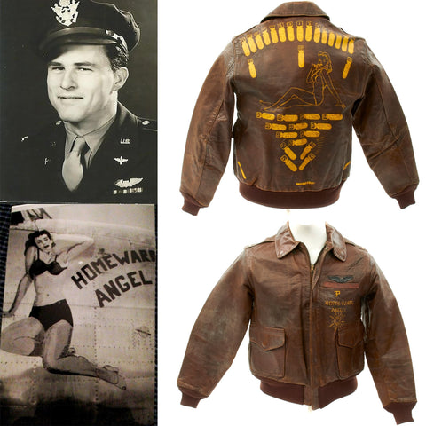 Original U.S WWII B-24 Homeward Angel Named 784th Bomb Squadron A-2 Flight Jacket Original Items