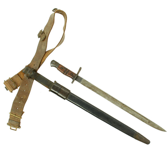 Original U.S. WWI M1917 Enfield Bayonet with Belt & Frog Reissued for WWII British Home Guard