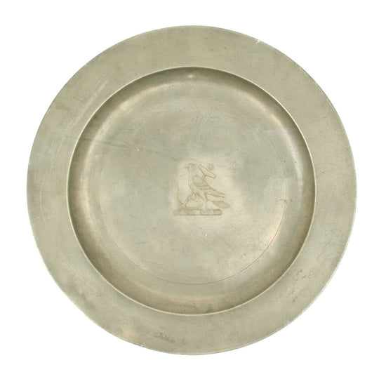 Original British Pewter Platter Bearing Crest of Admiral Samuel Hood - Revolutionary War Royal Navy Commander - Dated 1802