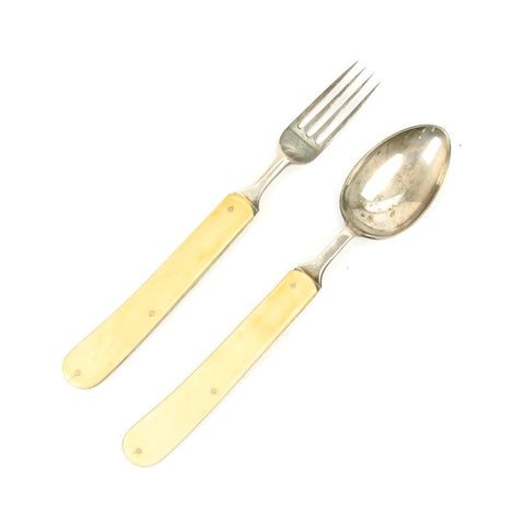 Original British Victorian Officer's Folding Campaign Spoon and Fork Set - circa 1850-1890