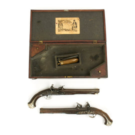 Original British 18th Century Breech Loading Pistols by Hirst of London in Original Wood Case