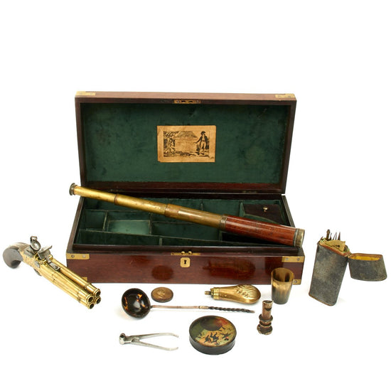 Original British Napoleonic Wars Flintlock Volley Pistol Cased Set Named to Captain James Saumarez