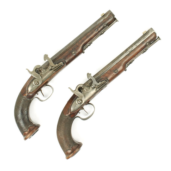 Original Pair of French Officers Rifled Percussion Pistols Converted by Fournier