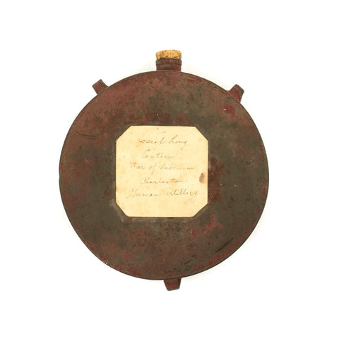 Original U.S. Civil War Confederate Tin Drum Canteen Named to Soldier in Charleston German Artillery